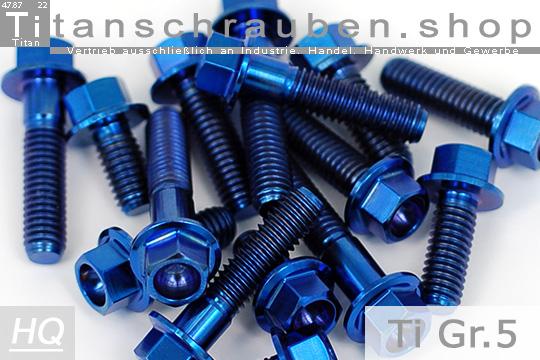 M6 x 85 Titanium Ti Screw Bolt Hexagon Hex Head Flange with Blue ThreadLocker